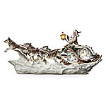 Christmas Decoration Wolf Art Illuminated Christmas Decor Sculpture: Santa's White Wolf Sleigh