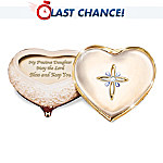 Heirloom Porcelain Heart-Shaped Jeweled Music Box: My Blessed Daughter