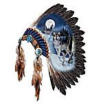 Replica Warrior Headdress With Wolf Art Wall Decor: Moonlit Majesty