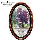 "Let America's most collected living artist, Thomas Kinkade, inspire you as never before with this framed canvas collector plate, the first in collectibles history to feature his radiant artwork AND his inspirational poetry, available exclusively from The Bradford Exchange.Presented on textured artist's canvas to best capture the nuances of his original artwork, this breathtaking Thomas Kinkade wall decor offers a unique window to a nature scene dominated by a magnificent, symbolic tree - the perfect backdrop to Thomas Kinkade's moving, beautifully inscribed ""Tree of Life"" poem. The classic oval shape of the plate is perfectly complemented by a hand-rubbed wooden oval frame with a sophisticated matte and golden title plaque. This exclusive masterpiece is available in a limited edition of just 5,000, so do not delay. Order now!"