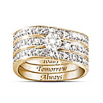 Engraved Diamond Women's Three Band Ring: Hidden Message Of Love