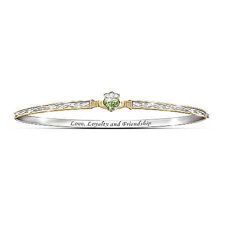 Claddagh Peridot Bracelet: Celtic Devotion