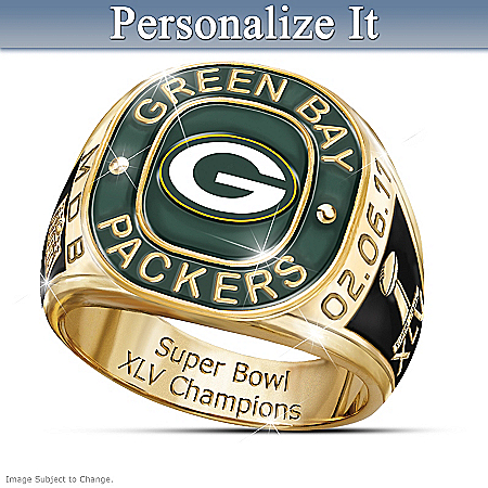 Green Bay Packers Super Bowl XLV Champions Personalized Men's Ring