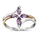 Valentines Gifts The Holy Trinity Amethyst And Diamond Women's Cross Ring