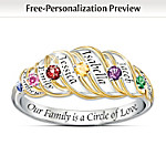 Our Family Is A Circle Of Love: Sterling Silver Personalized Birthstone Ring