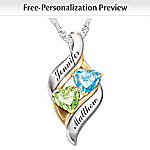 Romantic Personalized Birthstone Pendant Necklace: Loving Embrace