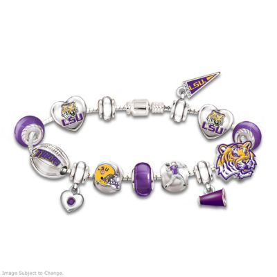 Louisiana State University Geaux Tigers! #1 Fan Charm Bracelet