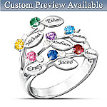 "Our Family Of Love"" Personalized Birthstone Ring"