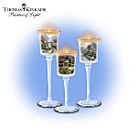 Thomas Kinkade Glass Stem Candleholder Set