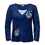 Layered Womens Wolf Art Shirt: Natures Starlit Wonders