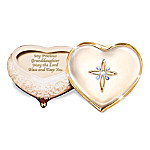 Collectible Porcelain Heart-Shaped Jeweled Music Box: My Blessed Granddaughter