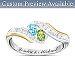 Personalized Birthstone Couples Ring: True Love Couples