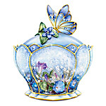 Butterfly Floral Art Heirloom Porcelain Music Box