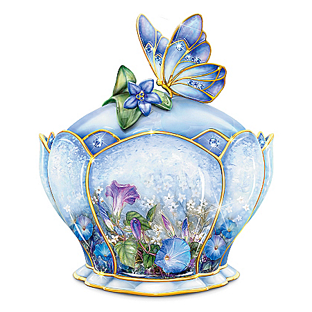 Butterfly Floral Art Heirloom Porcelain Music Box: Whispering Wings