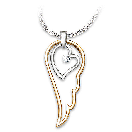 Daughter Diamond Pendant Necklace: Wings Of An Angel