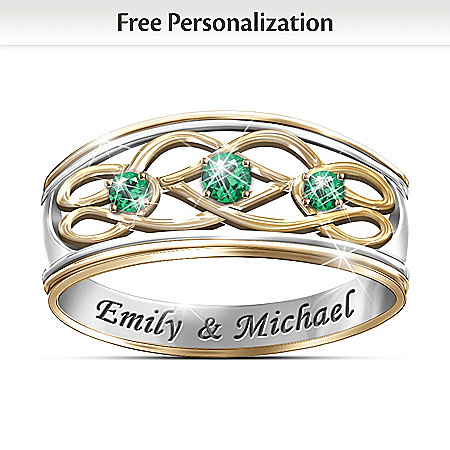 Personalized Emerald Celtic Knot Ring: Unity Of Love