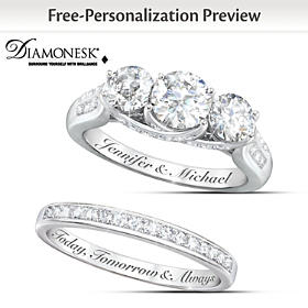 Diamonesk Personalized Bridal Ring Set