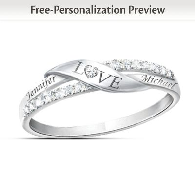 Buy Romantic Personalized 7-Diamond Engraved Ring