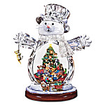 Crystal Snow Cat Christmas Figurine