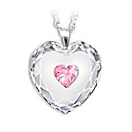 Crystal Heart Pendant Necklace For Daughter: Always In My Heart