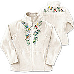 Songbird And Floral Art Women's Fleece Jacket