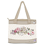Lena Liu Plates Lena Liu Floral Art Embroidered Tote Bag: Garden Perfection