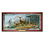 Whitetail Deer Art Illuminated Stained-Glass Panorama Wall Decor