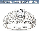 Personalized White Topaz Womens Ring: Always Loving You