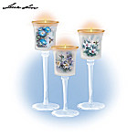 Lena Liu Floral Art Hand-Blown Glass Candleholder Set: Glow Of The Garden