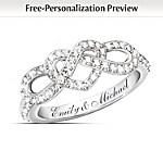 Personalized Engraved Lover's Knot Diamond Ring: Joined In Love