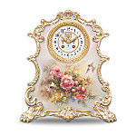 Lena Liu Roses Heirloom Porcelain Tabletop Clock