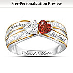 Topaz And Garnet Personalized Romantic Ring: Two Hearts, One Love