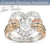 Heart Full Of Love Personalized White Topaz Ring