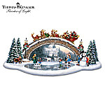 Thomas Kinkade Christmas Decor Bridge Sculpture: Light Up The Season