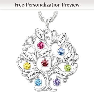 Buy Personalized Tree-Design Necklace With Names And Birthstones
