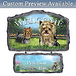 Lovable Yorkies Personalized Welcome Sign Wall Decor