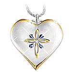 Gifts for Daughters My Blessed Daughter Diamond And Sapphire Pendant Necklace Jewelry