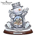 Thomas Kinkade Finally A Snow Day Crystal Snowman Sculpture