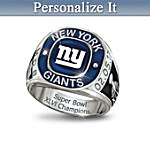 New York Giants 2012 Super Bowl Champions Men's Personalized Stainless Steel Ring
