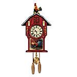 Barnyard Strut Rooster Art Cuckoo Clock