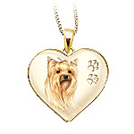 Yorkie Pawprints Engraved Heart Pendant Necklace