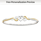 Two Hearts Become One Personalized Diamond Bracelet