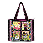 Cranky Cats Quilted Tote Bag
