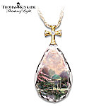 Thomas Kinkade Religious Pendant Necklace: Garden Of Prayer