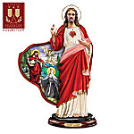 Jesus Christ Stained Glass Style Sculpture: Devotion To The Sacred Heart