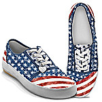 American Pride Sneakers With Distressed Denim Look