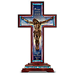 Sculpture: Behold Our Lord And Savior Cross Cold-Cast Bronze Sculpture