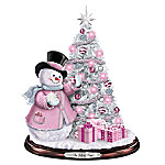 Breast Cancer Awareness Snowman And Pre-Lit Christmas Tree