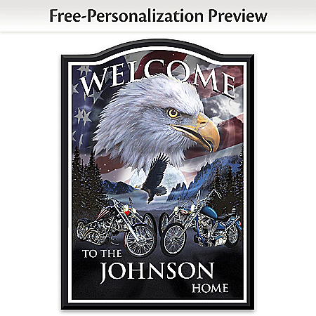 Welcome Sign: Ride Hard, Live Free Personalized Wall Decor