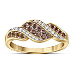 Sweet Decadence Mocha-Colored And White Diamond Ring